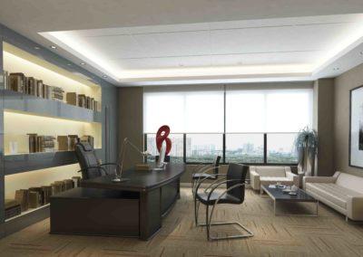 reforma interiorismo oficina madera iluminación